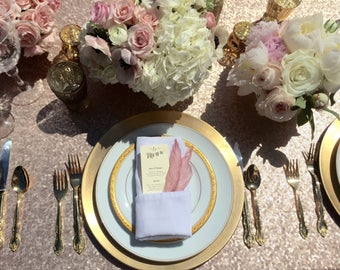 "Sequin Tablecloths, 1 DAY FREESHIP, Blush Champagne, Light Gold, Gold. 8 Foot 90""X156"", 6 Foot 90""x132"", 132"", 120"", 90""X90"""