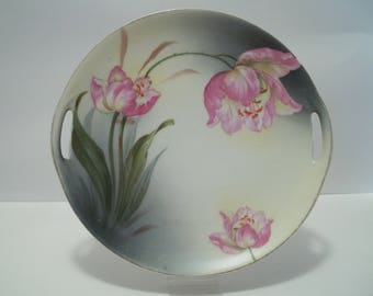 Antique Hand Painted Tulip Plate with Handles