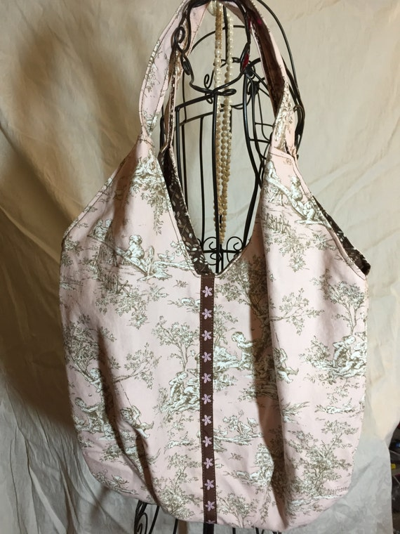 Pink Reversible Bag In Shabby Chic French Garden print, Soft Brown Lining, Ooooh La La