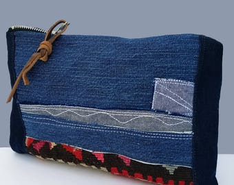 Clutch wallet, Clucth bag, Pouch, Denim Pouch, Embroiderd Pouch, Small purse, Clutch wallet, Kilim Denim bag, Denim Purse, Organizer,