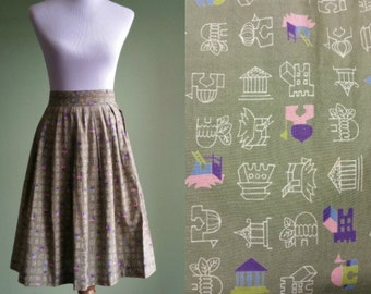 "1950s Novelty Print Cotton Skirt   Vintage 50s Pleated Skirt   27"" Waist"