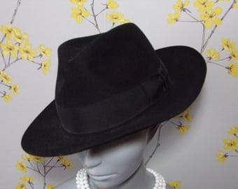 40s 50s Style Mens Fedora Hat Black Felt Hat Size 57 or 7 Medium Size Mens Hat Christy's London