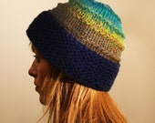 Hand Knitted Beanie Hat // Turquoise - Navy - Brown - Autumn // Chunky Knit // Christmas // For her // For him