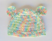 Newborn Boy Hat  With Ears 0 3 6 9 12 18 24 Months Infant Girl Pastel Rainbow Cap 2 Years Fall Beanie Children Winter Clothing Ready To Ship