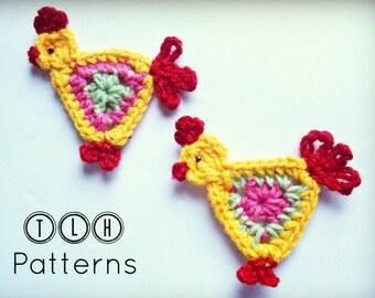 Crochet applique pattern, crochet animal applique, crochet rooster applique, Pattern No. 19