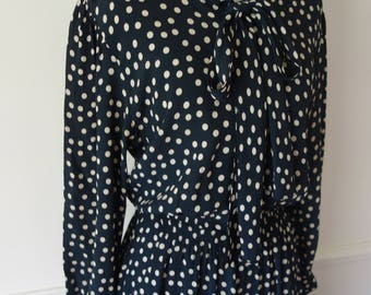 Vintage 30s 40s Rayon Polka Dot Dress with Bow Neck Tie