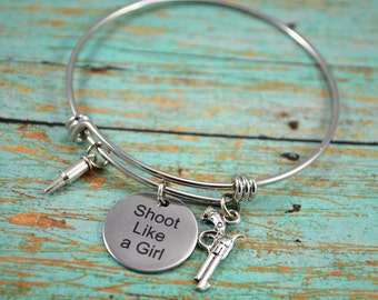 Shoot Like A Girl Bangle Bracelet ~ Fandom Jewelry ~ Girls and Guns Jewelry ~ Country Themed Bracelet