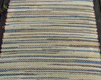 "Woven Wool RAG RUG Camel Blue Brown Olive 29"" x 50"""