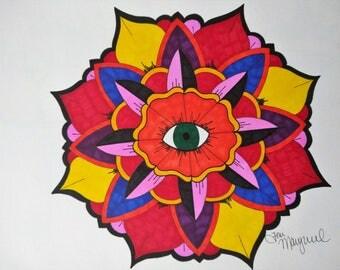Mandala Flower Art, Eyeball Mandala Art, Zentangle Drawing, Geometric Drawing, Original Mandala Art, Boho Home Decor, Lotus Mandala Art