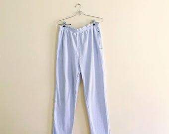 Vintage Striped Paperbag Waist Pants // High Waist Striped Drawstring Cropped Taper Pant // 90s Minimalist