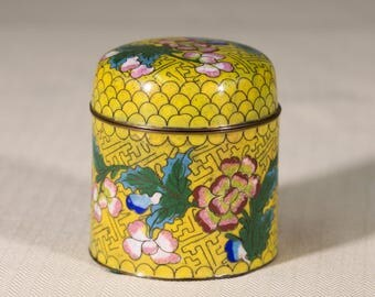 Cloisonné Copper Enamel Vessel | Yellow Floral Pattern Motif | Yellow & Teal