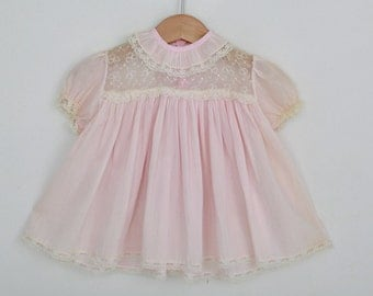 Vintage Baby Dress in Pink  / 3 to 6 months