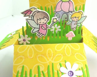Garden fairy themed pop up card, box pop up, fun pop up greeting, lawn fawn, have a magical day