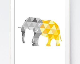 Elephant Art, Yellow and Gray Geometric Elephant Print, Elephant Wall Art, Elephant Triangle Geometric Art, Golds Grey Art, INSTANT DOWNLOAD