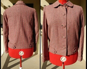 1950's Pink and Grey Wool Button down Jacket- silver lining- great condition -sz medium/large