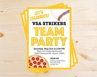 Editable Baseball Team Pizza Party Invitations - INSTANT DOWNLOAD PRINTABLE - Yellow Gold and Black