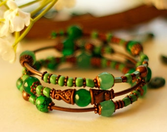 Gemstone Bead Wrap Memory Bracelet Green Jade Copper Free Worldwide Shipping