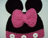 Minnie Mouse Inspired Crochet Toddler Hat-Size: 1-3 Yrs.Black & Pink-Ready to Ship,