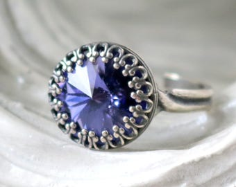 Tanzanite Ring | Silver Princess Ring | Swarovski | Adjustable Antique Silver Ring | Victorian Crown | Bridesmaid Jewelry | Gift For Her
