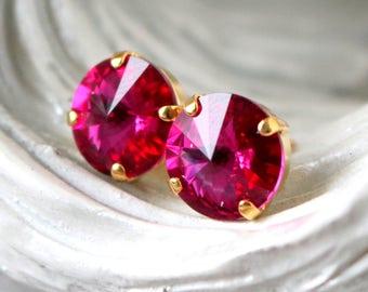 Fuchsia | Hot Pink Earrings | Swarovski Crystals | Stud Earrings | Wedding Jewelry | Bridesmaid Jewelry | Gift For Her | Fuchsia Jewelry