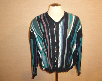 Vintage Multi-Color St. Croix For Kolliner's 1990's Hip-Hop Biggie Cosby Sweater Sz-L Made In USA