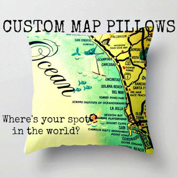 Anniversary Vacation In Bermuda: Custom Map Pillow Covers Wife Birthday Gift Custom Map