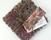 Handwoven coasters, reds, greens and purple browns, tweed, set of four, handspun, made in Scotland