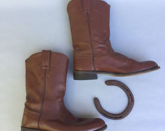 Vintage JUSTIN Brown Leather Western Boots sz 7