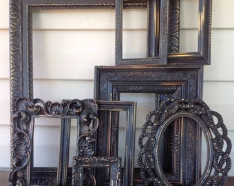 Textured Ornate Distressed Black Frames - 8 Pc Collection - Open Wall Frame Gallery - Paris Apartment Farmhouse