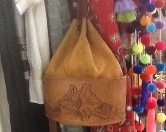 Vintage Mexican Leather Hobo Purse
