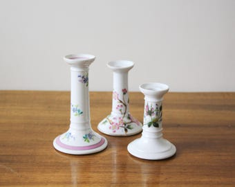 SALE - Vintage Ceramic Candlesticks - Set of Three Vintage Floral Ceramic Candlesticks - Shabby Chic