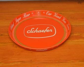 Vintage Schaefer beer advertising serving tray red metal drink tray