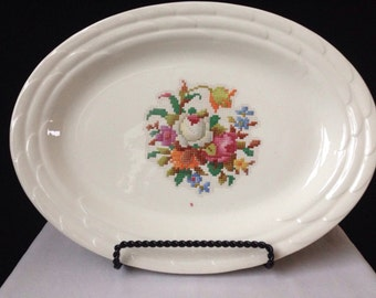Oval Petit Point Platter - Ivory Floral Design - Unmarked - 13 x 10