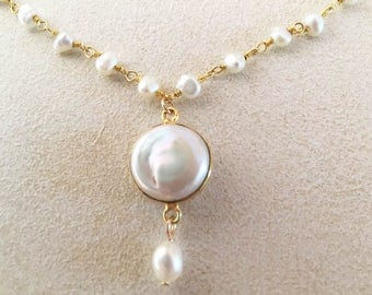 Round Pearl Bezel with Pearl Drop Gold Necklace on Pearl Rosary Chain and Gold Filled Rolo Chain.