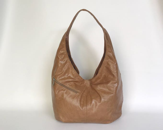 Featured listing image: Distressed Brown Leather Slouchy Hobo Bag with Outside Pockets, Trendy Chic Shoulder Handbag,Fashion Handmade Purses, Alicia
