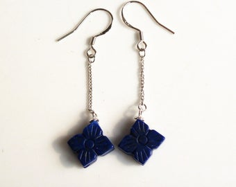 100% natural gemstone lapis lazuli clover 925 sterling silver drop earrings handmade jewelry