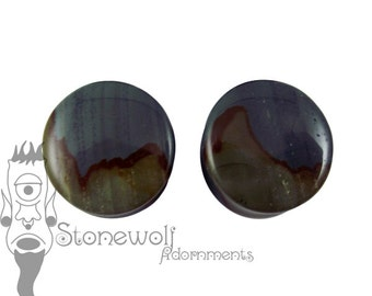Succor Creeak Landscape Jasper 21mm Stone Plugs for Stretched Ears Piercings Handmade - Ready to Ship