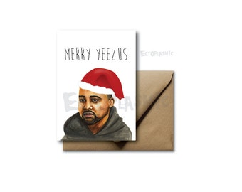 Christmas Card Holiday Greeting Card Kanye Merry Yeezus Lol Funny Hand Drawn