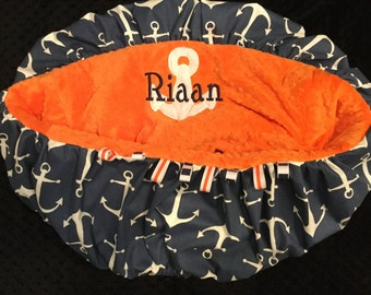 Navy and Orange Anchor Shopping Cart Cover or Highchair Cover