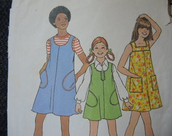 vintage 1970s Simplicity sewing pattern 7370 girls dress or  jumper size 12