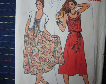 vintage 1980s Butterick sewing pattern 6523 misses dress and vest size 8