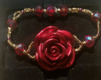 Red and Gold Rose Bracelet