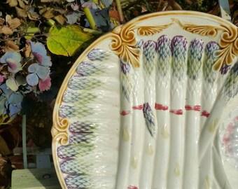 19thC Antique French Sarreguemines Barbotine Majolica Asparagus Serving Dish-Collectable & Versatile!
