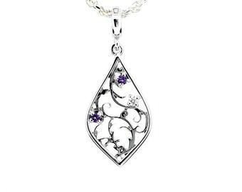 Amethyst and diamond filigree pendant, sterling silver,  filigree necklace, purple, amethyst pendant, unique, wedding jewelry, bridal