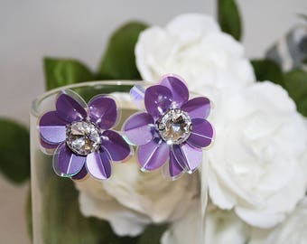 Pretty Purple Sequin Earrings Rhinestone Center Perfect For Any Occasion
