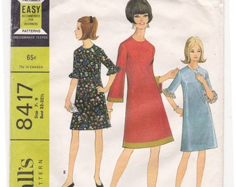 """1960s Size 7-9 Junior Petite Dress in 3 Versions Bell Sleeves Vintage Sewing Pattern [McCalls 8417] Bust 32""""-32 1/2"""", Complete Partly Cut"""