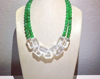 Evergreen + Crystal Clear Statement Necklace
