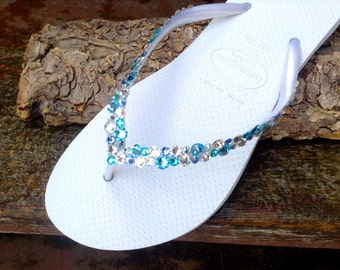 Custom Havaianas Slim Flip Flops White w/ Swarovski Crystal Rhinestone Beach Sea Glass Slippers Wedding Shoes Bling Aqua Blue Jewels Bridal