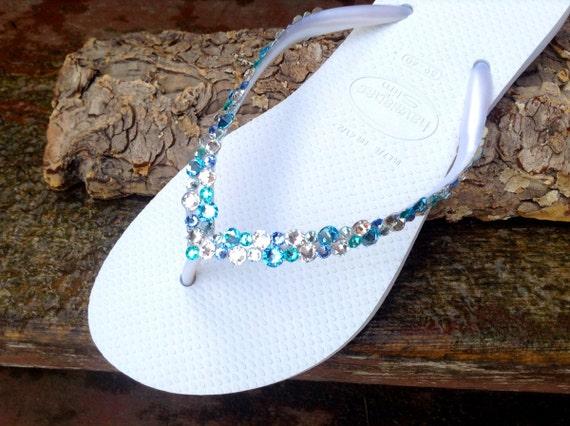 Custom Havaianas Slim Flip Flops White w/ Swarovski Crystal Rhinestone Beach Sea Glass Slippers Wedding Shoes Bling Aqua Blue Jewels Bridal
