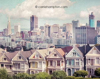San Francisco victorian wall art painted ladies postcard row city fine art canvas print vintage sky bay area cottage chic photography